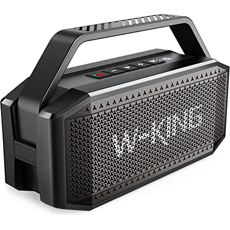 Bluetooth Speaker, W-KING 60W RMS(80W Peak) Super Loud,Full Bass,40H Playtime,Large Waterproof Outdoor Wireless Portable Speaker with 12000mAh Power Bank,Bluetooth 5.0,TF Card,AUX,NFC for Party,Beach