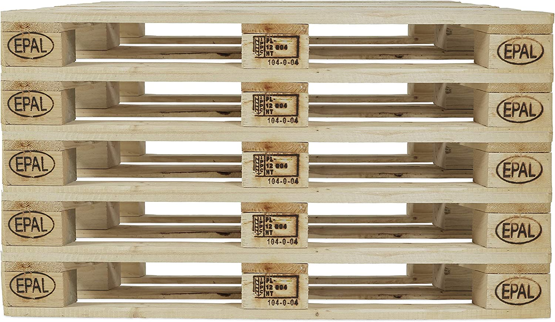 Holtaz Euro-Palette Satz mit 5 Holzpaletten aus Massivholz Flachpalette