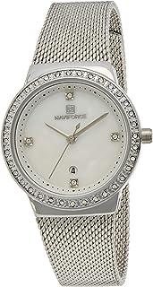ساعة انالوج بمينا بيضاء وسوار من الستانلس ستيل للنساء من نافي فورس - NF5005-SW