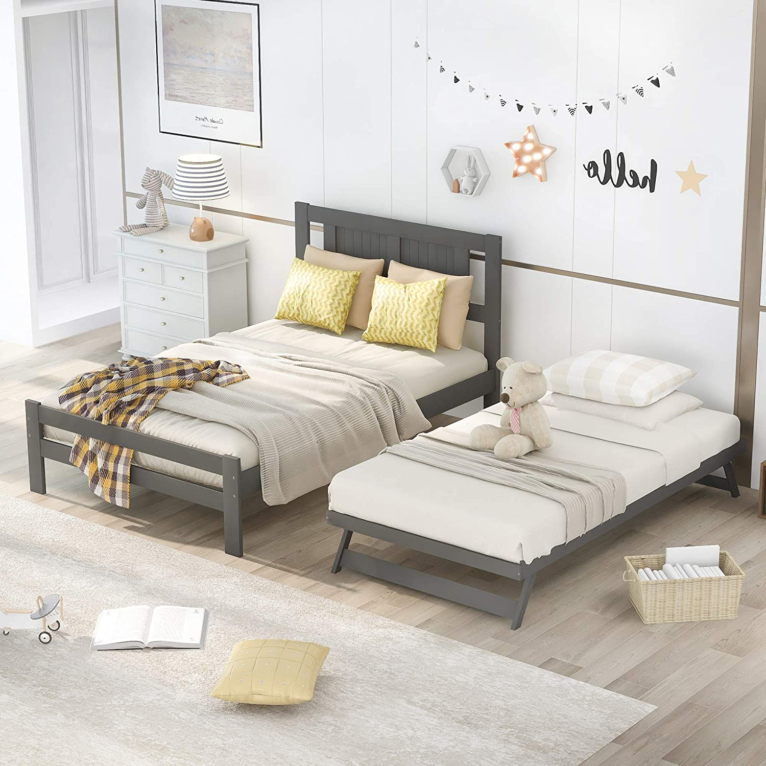 Full Size Selling rankings Platform Bed Gray List price with Trundle Adjustable