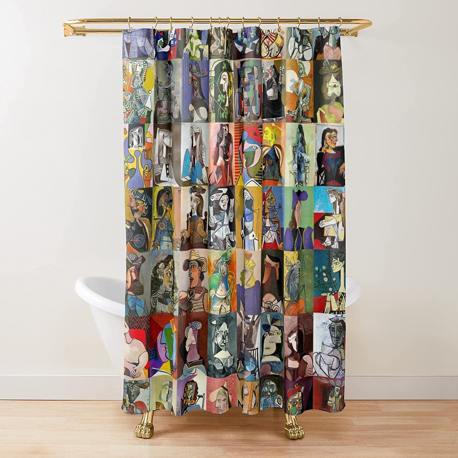 Picasso Faces Fabric Shower Genuine Curtains Bathroom Customize overseas Printed