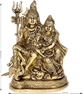 Indian Handicrafts Export Brass Shiva Parvati - Brass Shiv Parivar Shiva Bholenath Shankar Parvati Ganesh Family Murti Idol Statue Sculpture Height 6 Inches (7.75