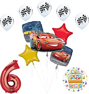 Disney Cars 3 Lightning McQueen 6th Birthday Party Supplies and Balloon Decorations