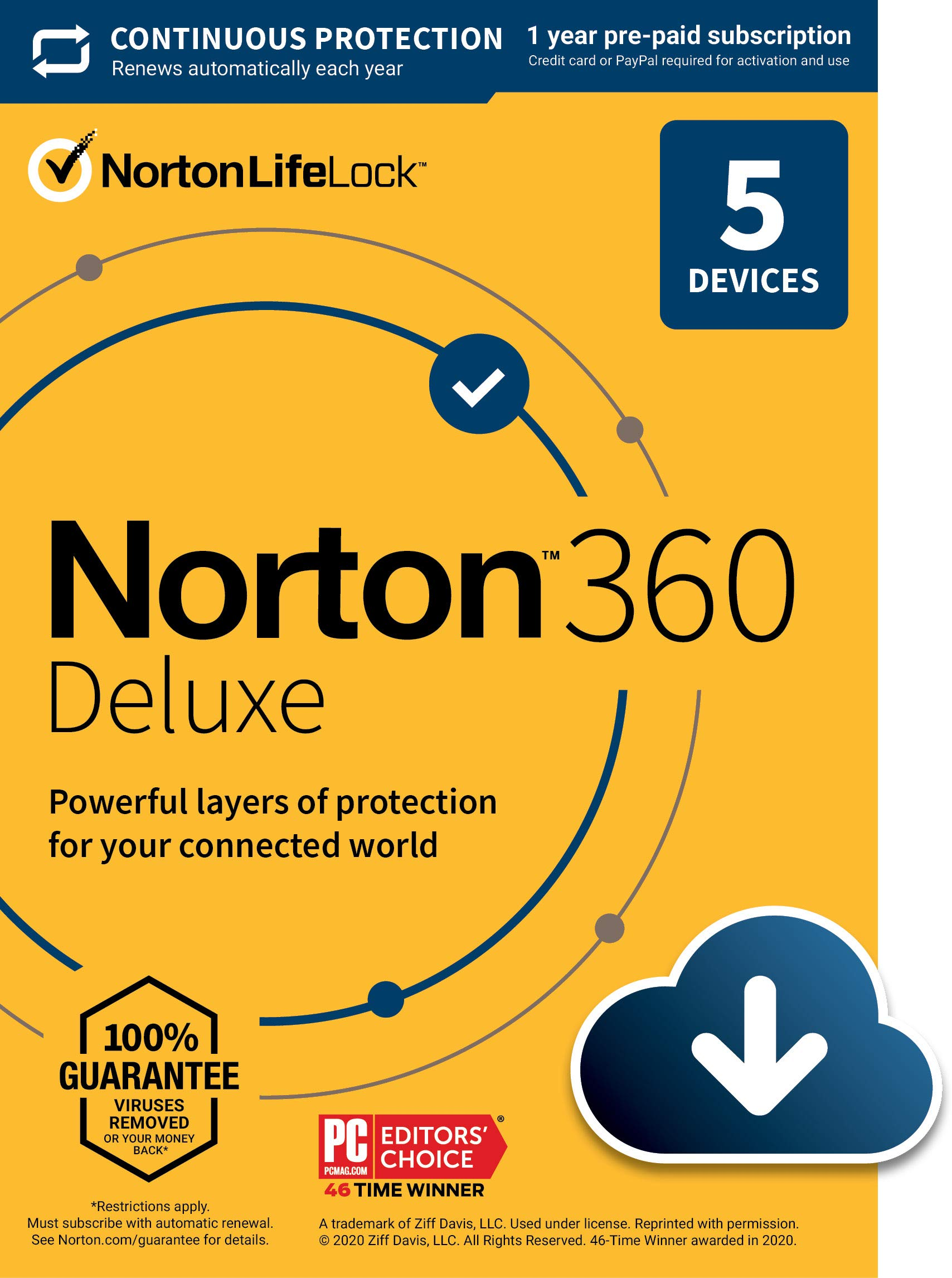 Norton 360 Deluxe  Antivirus software for 5 Devices with Auto Renewal - Includes VPN, PC Cloud Backup & Dark Web Monitoring powered by LifeLock [Download]