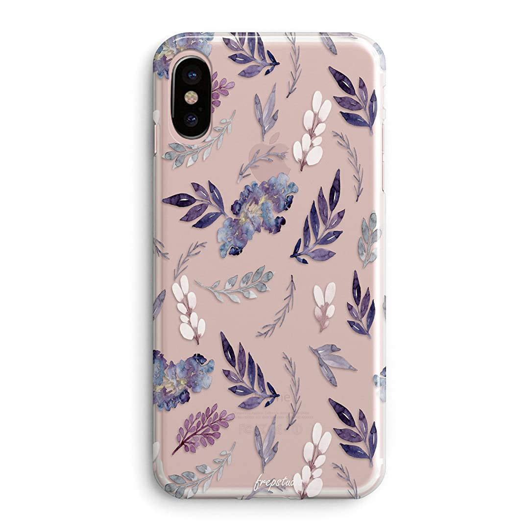 iPhone x Case,Floral Flowers Girls Tropical Aloha Cute Purple Plants Leaves Succulents Cactus Indoor Plant Summer Beach Spring Vintage Roses Case for Girl Women Clear Soft Case Compatible for iPhone X