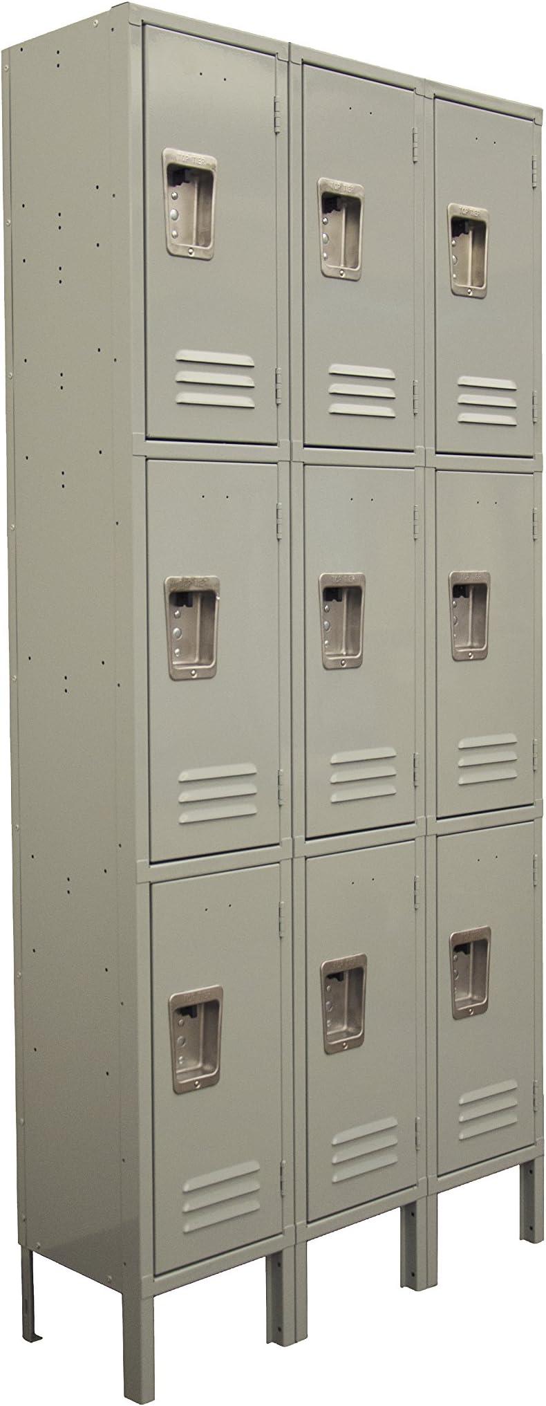 Three Tier Locker 6 feet high 3 Wide Unit w/ 9 Doors with Louvers 12W x 12D x 78H Unassembled Gray Metal Locker Perfect as a School Locker, Gym Locker or Lockers for Employees