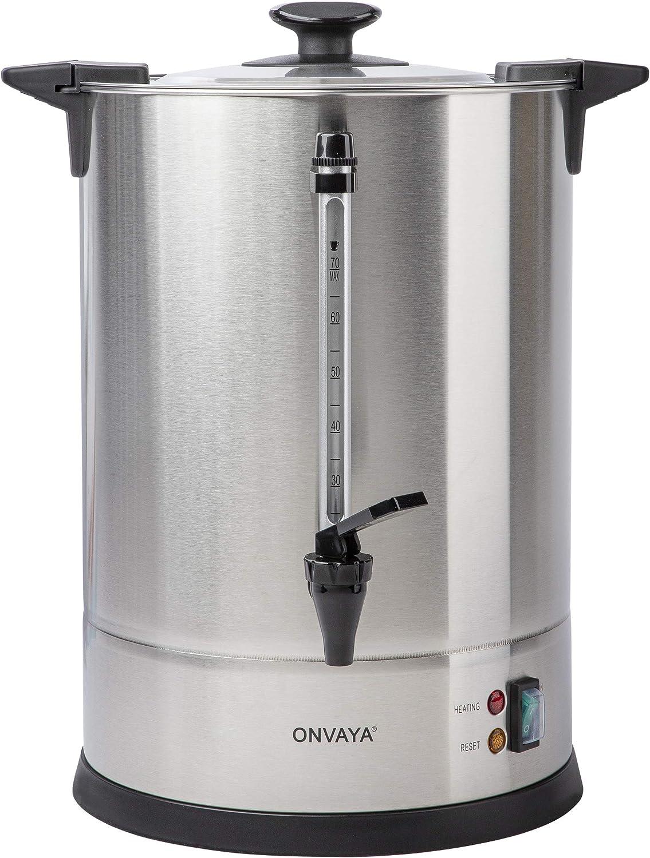 ONVAYA® Cafetera de filtro Gastro | Dispensador de café para grandes cantidades | Máquina de café industrial | Hervidor de cantidades con resistencia (10,5 L)