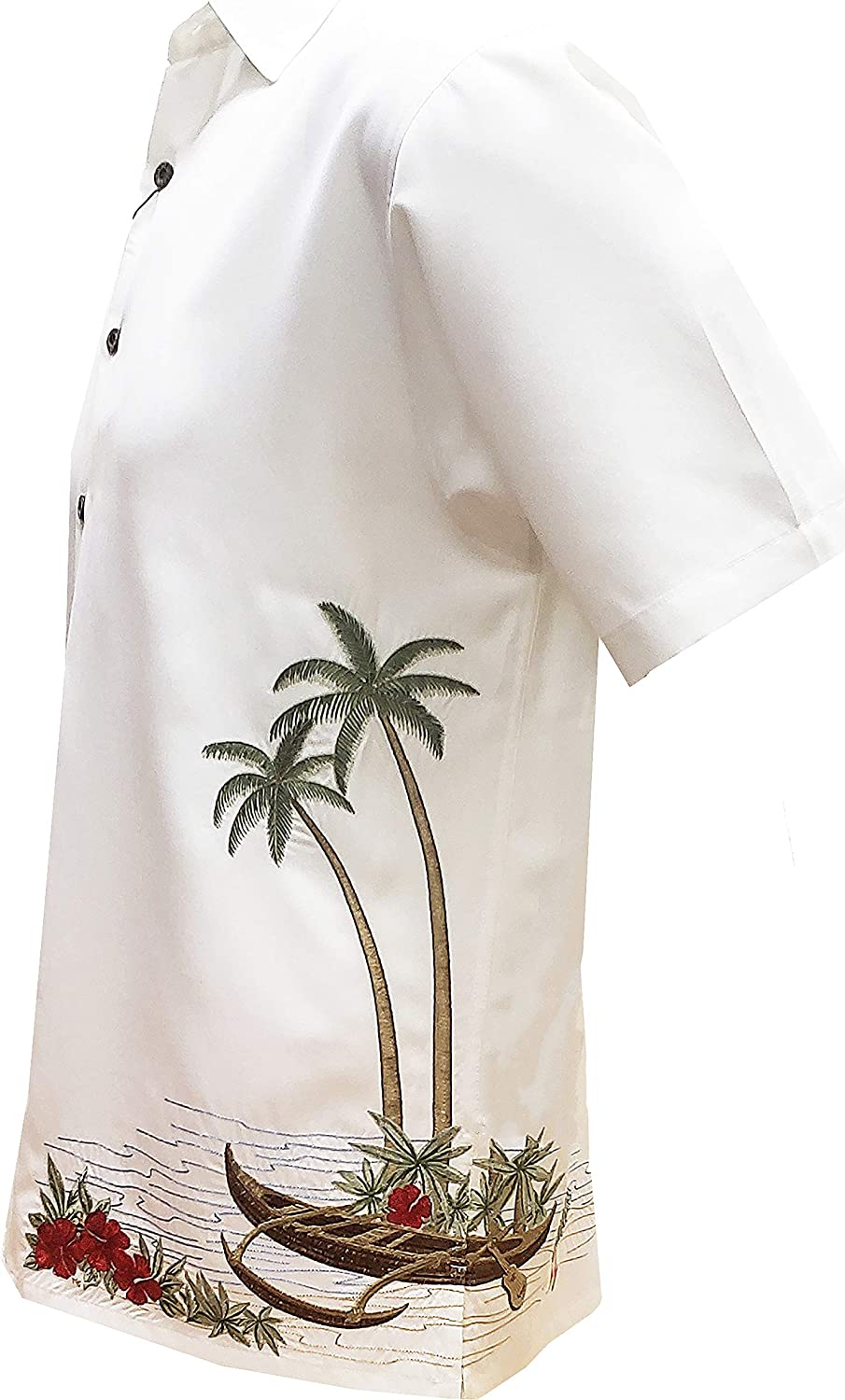 Bamboo Cay Men's Dancing Hula Short Sleeve Embroidered Button Down Tropical Camp Shirt