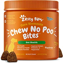 Zesty Paws Chew No Poo Bites - Coprophagia Stool Eating Deterrent for Dogs Deter Stop Dog from Eating Feces Probiotic Digestive Enzymes Breath Freshener