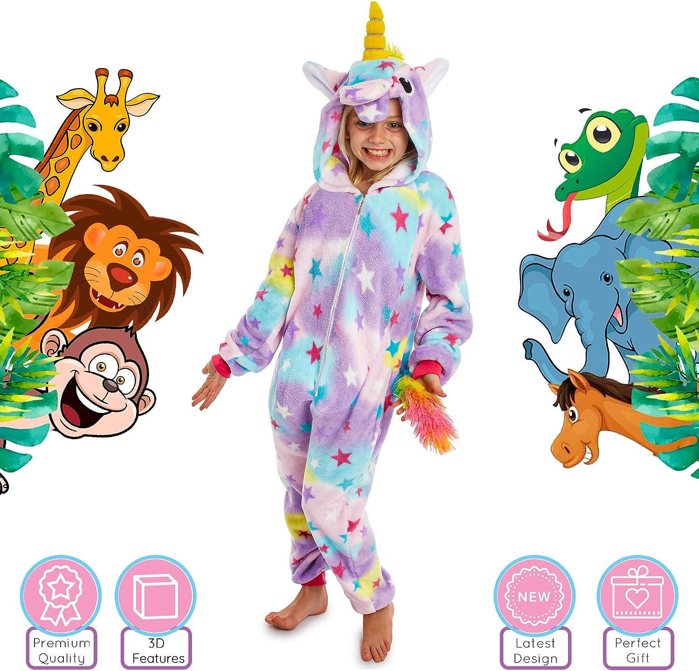 CityComfort Pijama Niño de Una Pieza, Pijamas Niños Animales de Forro Polar con Capucha, Regalos para Niños y Niñas 4-12 Años