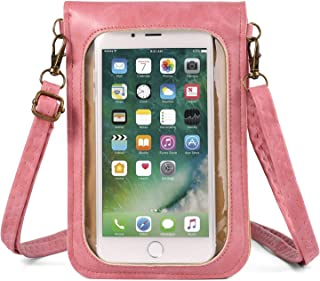 Women's Flower PU Leather Touch Screen Wallet Purse Crossbody Shoulder Bag for Apple iPhone X/8 7 Plus/HTC Desire 12 12+/U11+/Huawei P20/P20 Pro/Nokia 5 6 8 7 Plus/LG V30/G6 Pink