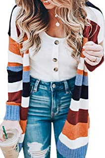ECOWISH Womens Color Block Striped Draped Kimono Cardigan...