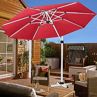 Patiassy Heavy Duty Windproof Patio Outdoor Umbrella, Heavy Duty 11 Feet Waterpoof Double Top Hanging Umbrella, 5 Years No Fading Top + No Rust Aluminum Frame for Garden, Backyard and Pool (Red)