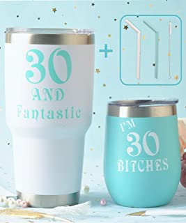 30th Birthday Wine Tumbler Mint Pack, Thirty and Fantastic Wine Tumbler, 30 and Fabulous 12oz + 30oz Stainless Steel Wine Glass Tumbler with Lid and Reusable Silicone Straw, 30th Birthday Gift for
