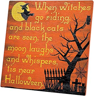 WAYPOR When Witches Go Riding Halloween Décor Sign, Durable Wood Halloween Decoration with Hinged Stand, Vintage Design for Home, Office, Classroom Spooky Décor, 12 x 12 Inch