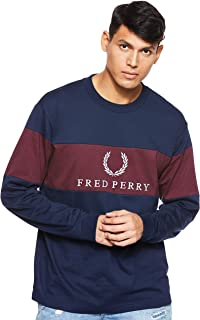 Fred Perry Men's Contrast Panel SweatShirt, Red (Mahogany), Medium