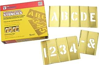 ステンシル 真鍮製プレート 英数字 45ピースセット 4インチ 10cm