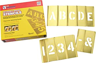 Box Partners STBLN3 Brass Stencil Set of Gothic Style Letters & Numbers, 45 Pieces, 3