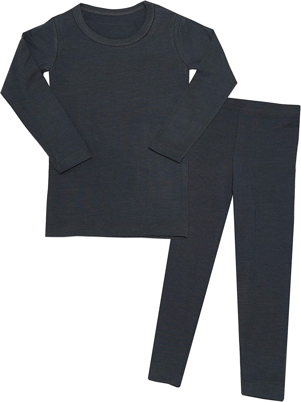 MiNi-K Baby Boys & Girls Toddler Unisex Kids Soft Comfy Modal Tencel Solid Sleepwear Pajamas Long Sleeve 2pcs Set