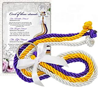 Cord Of Three Strands, Unity Cords, Wedding Gift, White, Gold, Purple 1/2