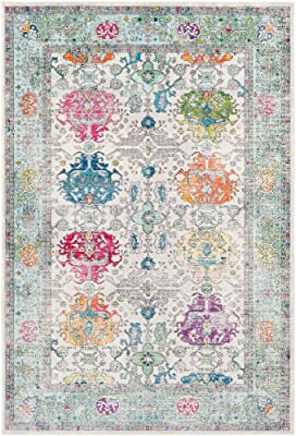 """Fareeha Beige and Sky Blue Updated Traditional Area Rug 5'3"""" x 7'6"""