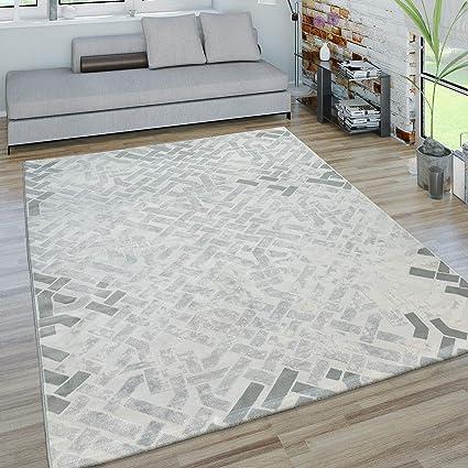 Paco Home Short Pile Living Room Rug 3d Look Maze Design Modern In Grey White 200x280 Cm Amazon De Kuche Haushalt