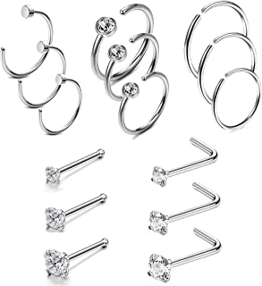 20G 15Pcs Stainless Steel Nose Rings Studs Hoop Piercing Body Jewelry Silver Tone