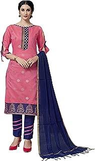 Maroosh Women'S Silk Fabric Pink Color Chudidar Free Size Dress Material