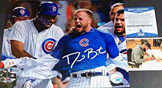 David Bote Chicago Cubs Autographed Signed 8x10 BECKETT WITNESS COA WALK-OFF GRAND SLAM White Jersey