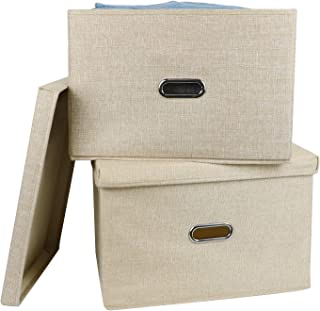 ICCPI 収納ボックス不織布+綿とリネン 収納ケース ふた付き&ハンドル付き、洗える、防塵、防湿、無臭 折りたたみ可能な大容量カラーボックス、衣類、本、おもちゃ、キルトを収納できます(2個)