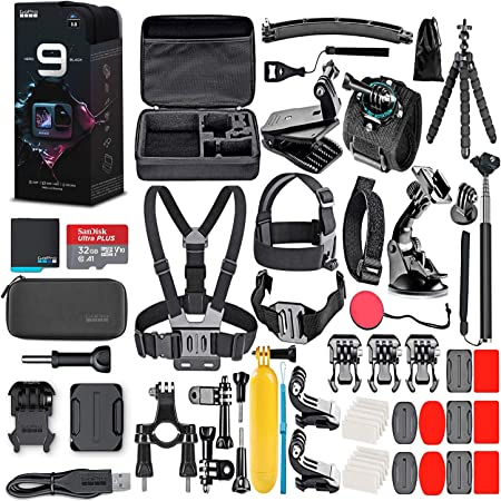 GoPro HERO9 Black - Waterproof Action Camera with Front LCD, Touch Rear Screens, 5K Video, 20MP Photos, 1080p Live Streaming, Stabilization + 32GB Card and 50 Piece Accessory Kit - Action Kit