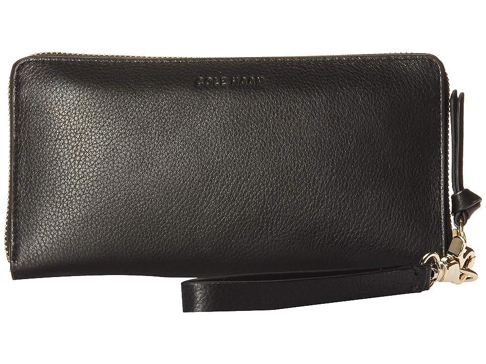 Cole Haan Piper Zip Around Wallet Wristlet (Black) Wristlet Handbags