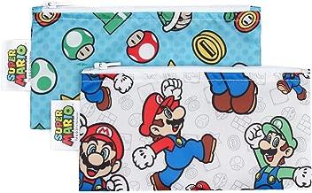 Bumkins Nintendo Super Mario Snack Bags, Reusable, Washable, Food Safe, BPA Free - Mario & Luigi, Pack of 2