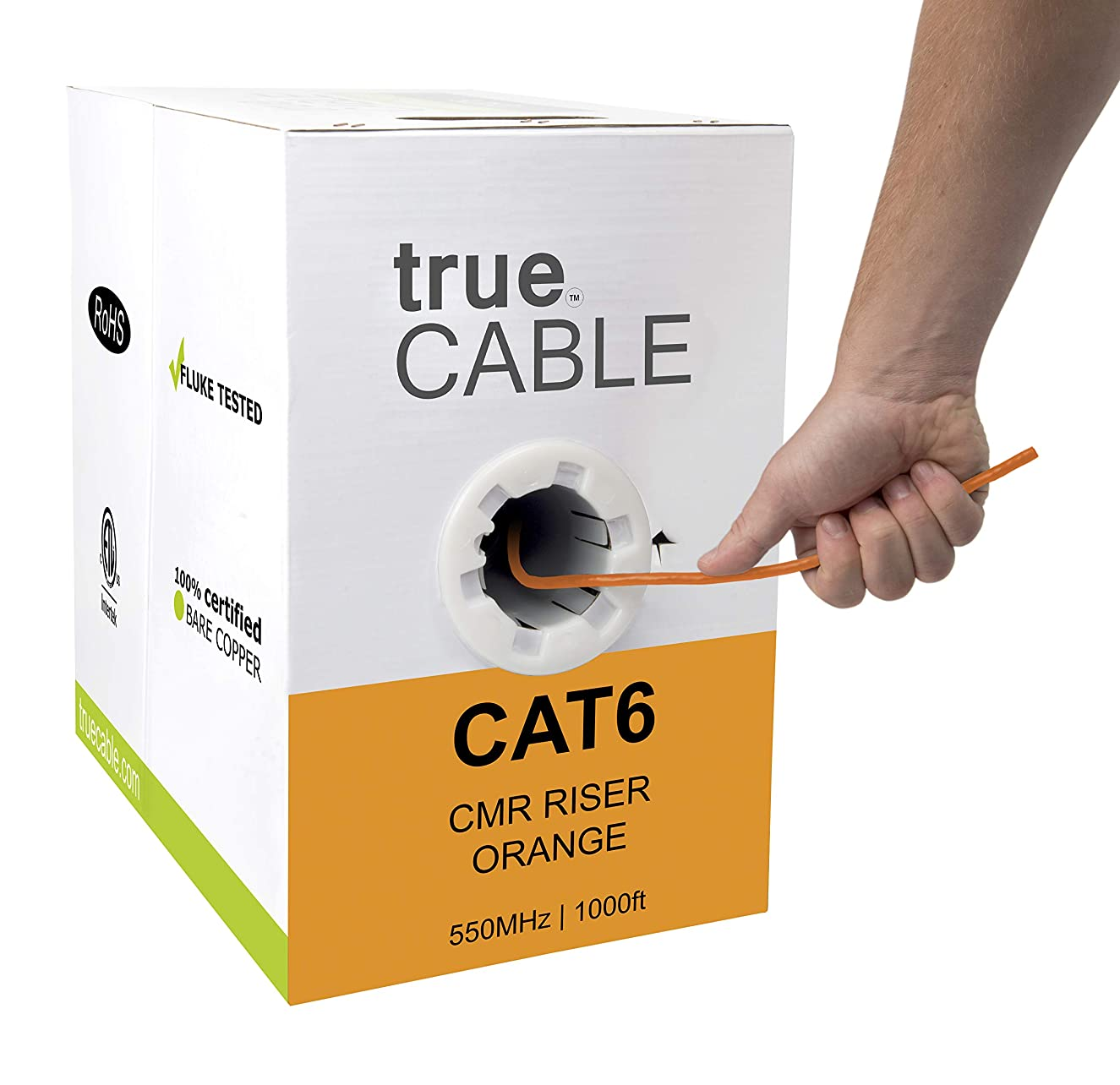 Cat6 Riser (CMR), 1000ft, Orange, 23AWG 4 Pair Solid Bare Copper, 550MHz, ETL Listed, Unshielded Twisted Pair (UTP), Bulk Ethernet Cable, trueCABLE