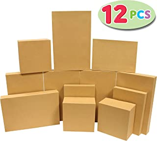 12 Pieces Brown Kraft Cardboard Boxes Gift Wrap for Christmas Holiday, Festive Xmas Wrapping Shirt and Lingerie Cupcake DIY Boxes.