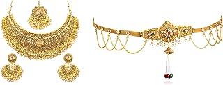Sukkhi Fashion Jewellery for Women Golden (N72392ADHT112017 + KB71865GLDPJ092017)