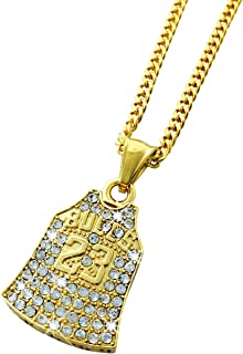 Exo Jewel 18k Gold Plated Diamond Number 23 Baketball Jersey Pendant Stainless Steel Necklace with 24
