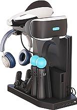 Soporte Vertical para PlayStation - Fisound PSVR Stand, Ventilador de Refrigeración, Estación de carga cargador de controlador DualShock y Move Motion, 4x USB Hub, Mando Charger para PS4, Slim y Pro
