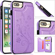 FLYEE iPhone 7/8 Plus Card Holder Case, iPhone 7 Plus Wallet Case PU Leather Cover Shockproof Case with Credit Card Slot, Durable Protective Case for iPhone 8 Plus 5.5 inch, Purple