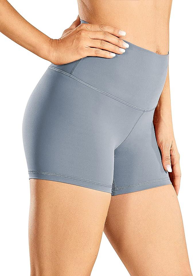 CRZ YOGA Women's Naked Feeling Biker Shorts High Waist Yoga Shorts Workout Running -3 Inches/ 4 Inches