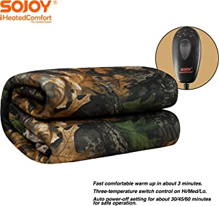 Sojoy 12V Heated Smart Multifunctional Travel Electric Blanket for Car, Truck, Boats or RV with High/Low Temp Control (55