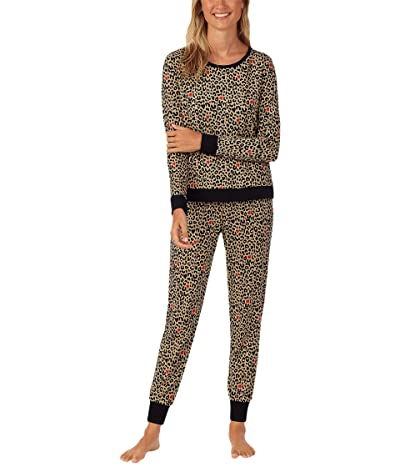 BedHead Pajamas Long Sleeve Crew Neck Joggers Pajama Set (Wild Savannah) Women