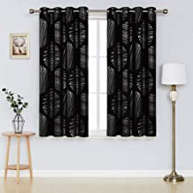 Deconovo Room Darkening Curtains Circle Printed Grommet Drapes Thermal Insulated Blackout Curtains for Bedroom Room 52 x 54 Inch Black 2 Panels