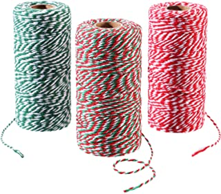 Pangda 3 Rolls 984 feet Totally Christmas Cotton String Gift Wrapping Cords Baker Twines for Gift Wrapping Christmas Decoration Supplies, 3 Colors