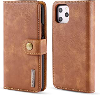 iPhone 11 Pro Max Case, DG.MING Retro Vintage Cowhide Leather 2 in 1 Magnetic Detachable Stand Wallet Card Holder Phone Ca...