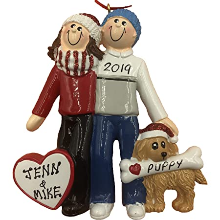Personalized Couple with Dog Christmas Ornament 2021