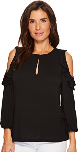 LAUREN Ralph Lauren - Ruffled Jersey Cold-Shoulder Blouse
