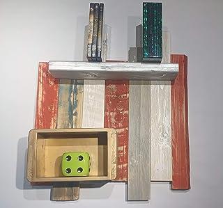 Mural de paneles de madera con estantes