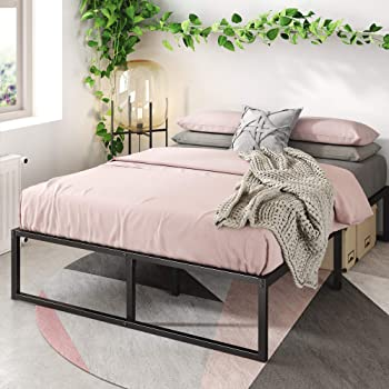 Zinus Lorelai 14 Inch Metal Platform Bed Frame / Steel Slat Support / No Box Spring Needed / Underbed Storage Space / Easy Assembly, Twin