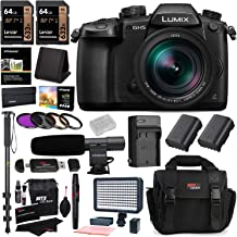 PANASONIC LUMIX GH5 Mirrorless Camera with 12-60mm Lens (DC-GH5LK), 2X 64GB Memory Cards, 2X Spare Battery, Professional Video LED Light, Accessory Bundle